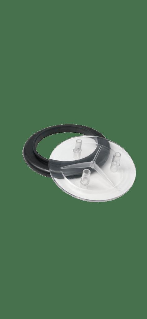 Melkeimerdeckel, Kunststoff, mit 3 Anschlüssen, 17 mm  inkl. Dichtung